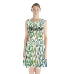 Magical green trees Sleeveless Chiffon Waist Tie Dress