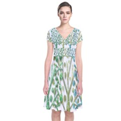 Magical green trees Short Sleeve Front Wrap Dress
