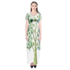 Magical green trees Short Sleeve Maxi Dress