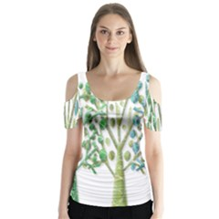 Magical green trees Butterfly Sleeve Cutout Tee