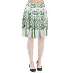 Magical green trees Pleated Skirt