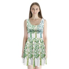 Magical green trees Split Back Mini Dress