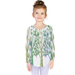 Magical green trees Kids  Long Sleeve Tee
