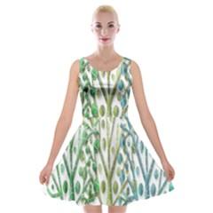 Magical green trees Velvet Skater Dress