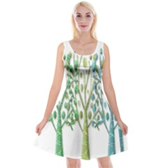 Magical green trees Reversible Velvet Sleeveless Dress