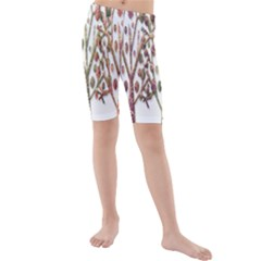 Magical autumn trees Kids  Mid Length Swim Shorts