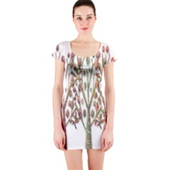 Magical autumn trees Short Sleeve Bodycon Dress