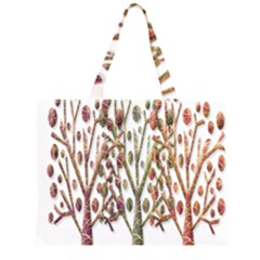 Magical autumn trees Zipper Large Tote Bag