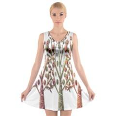 Magical autumn trees V-Neck Sleeveless Skater Dress