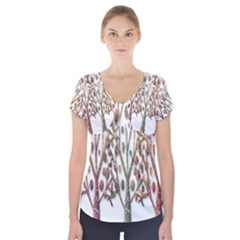 Magical autumn trees Short Sleeve Front Detail Top