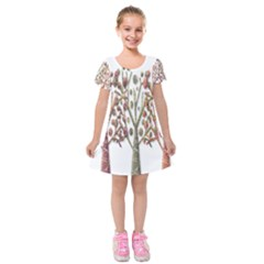 Magical autumn trees Kids  Short Sleeve Velvet Dress