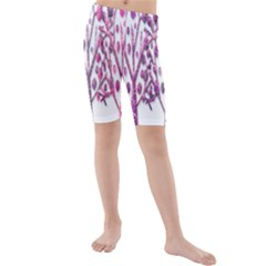 Magical pink trees Kids  Mid Length Swim Shorts