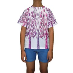 Magical pink trees Kids  Short Sleeve Swimwear