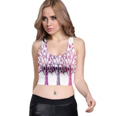 Magical pink trees Racer Back Crop Top