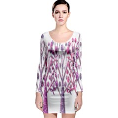 Magical pink trees Long Sleeve Bodycon Dress