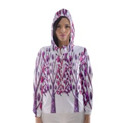 Magical pink trees Hooded Wind Breaker (Women)