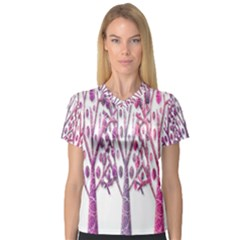 Magical pink trees Women s V-Neck Sport Mesh Tee