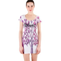 Magical pink trees Short Sleeve Bodycon Dress