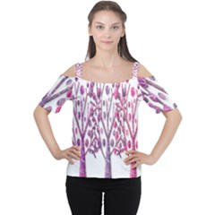 Magical pink trees Women s Cutout Shoulder Tee