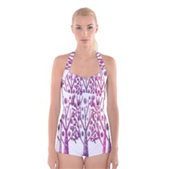 Magical pink trees Boyleg Halter Swimsuit