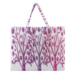 Magical pink trees Zipper Large Tote Bag
