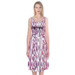 Magical pink trees Midi Sleeveless Dress