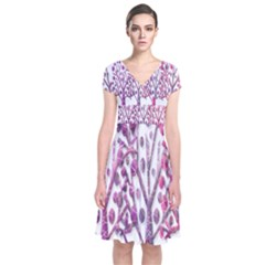 Magical pink trees Short Sleeve Front Wrap Dress