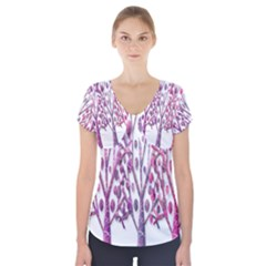 Magical pink trees Short Sleeve Front Detail Top