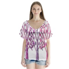 Magical pink trees Flutter Sleeve Top