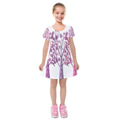 Magical pink trees Kids  Short Sleeve Velvet Dress