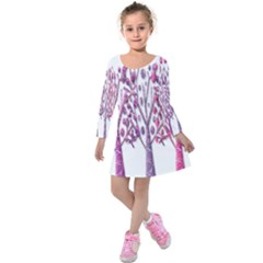 Magical pink trees Kids  Long Sleeve Velvet Dress