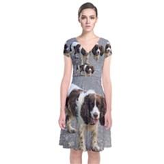 English Springer Spaniel Full Short Sleeve Front Wrap Dress