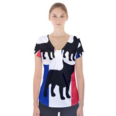 French Bulldog Silo France Flag Short Sleeve Front Detail Top