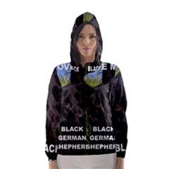 Black German Shepherd Love W Pic Hooded Wind Breaker (Women)