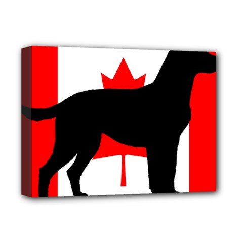 Labrador Retriever Silo Canadian Flag Deluxe Canvas 16  x 12