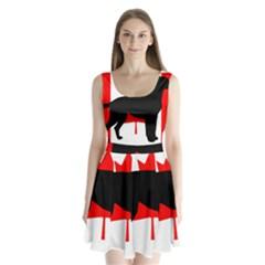 Labrador Retriever Silo Canadian Flag Split Back Mini Dress