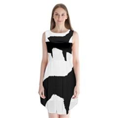 Mudi Fekete Silhouette Sleeveless Chiffon Dress