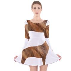 Plott Hound Brindle Silhouette Long Sleeve Velvet Skater Dress