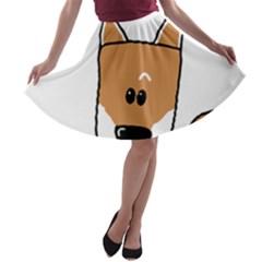 Peeping Shiba A-line Skater Skirt
