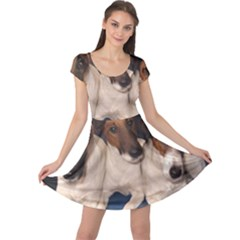 Smooth Fox Terrier Group Cap Sleeve Dresses