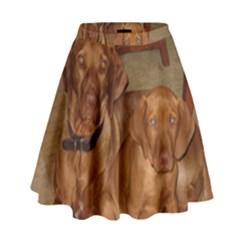 2 Vizslas High Waist Skirt