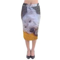 Westy Sleeping Velvet Midi Pencil Skirt