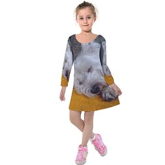 Westy Sleeping Kids  Long Sleeve Velvet Dress