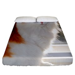 Norwegian Forest Cat Sitting 4 Fitted Sheet (California King Size)