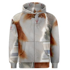 Norwegian Forest Cat Sitting 4 Men s Zipper Hoodie