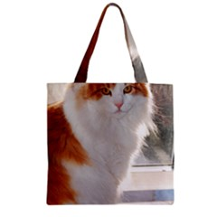 Norwegian Forest Cat Sitting 4 Zipper Grocery Tote Bag