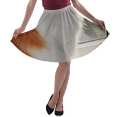 Norwegian Forest Cat Sitting 4 A-line Skater Skirt