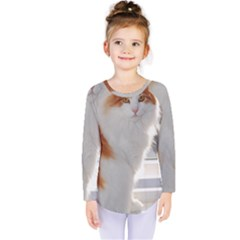 Norwegian Forest Cat Sitting 4 Kids  Long Sleeve Tee