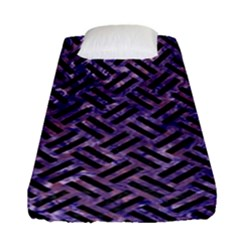 Woven2 Black Marble & Purple Marble (r) Fitted Sheet (single Size)