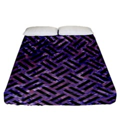 Woven2 Black Marble & Purple Marble (r) Fitted Sheet (queen Size)